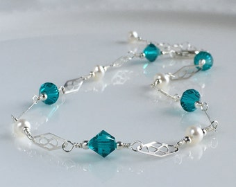 Wedding Crystal Anklet, Crystal Anklet, Something Blue Anklet, Sterling Silver Anklet, Sterling Silver Ankle Bracelet