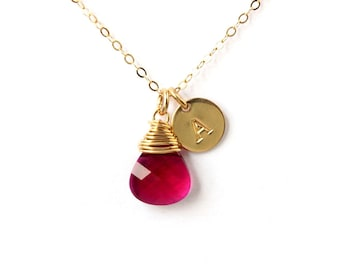 July birthstone necklace, Swarovski teardrop ruby briolette crystal 14K Gold filled initial necklace, July birthday gift, gold necklace