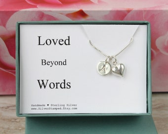 Loved Beyond Words sterling silver necklace with heart and initial personalized gift for daughter, wife, girlfriend, grandma, granddaughter