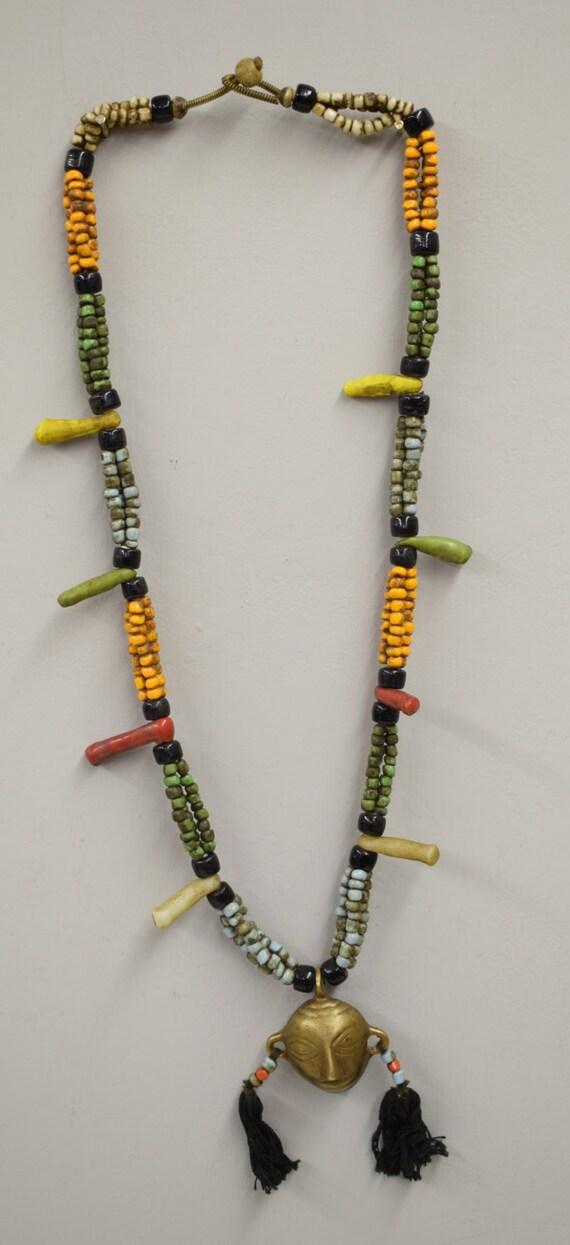 Naga Necklace Brass Head Pendant India Handmade Orange Blue Green Red Glass Trophy Naga Brass Head Necklace Unique