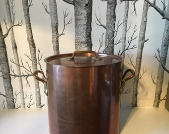 Huge French Antique Copper Stock Pot