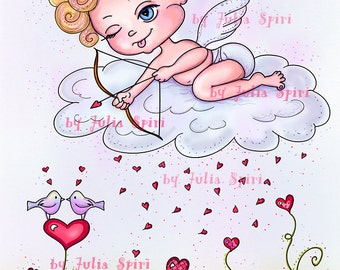 Digital Stamps, Digi stamp, Coloring pages, Valentin stamp, Love stamps, Heart, In Love, Romantic. Love is in the Air Collection. Valentin