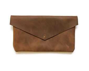 raw leather clutch, brown envelope clutch, distressed leather bag, leather purse