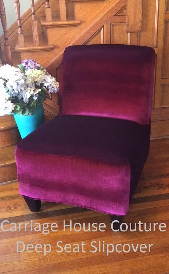 Slipcover Cranberry Velvet Stretch Chair Cover For Armless