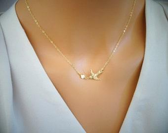 Flying bird Bird Necklace, CZ Diamond necklace, Bird Jewelry, tiny Gold Dove Necklace, Swallow Necklace, Petite necklace