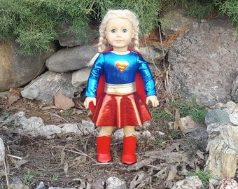 Supergirl Doll Outfit, SuperGirl Outfit for 18 inch Dolls, Supergirl Doll Clothes