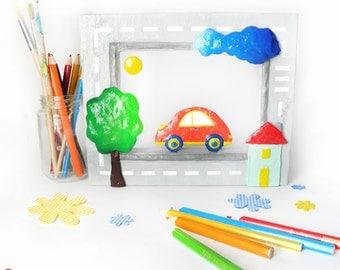 Kids wall decor, paper wall art, 3d wall art, kids gift, nursery wall art, car wall decor, paper diorama, car sculpture, papier mache art