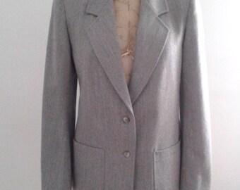 Vintage 1970's Jaeger Grey Wool Blazer Jacket Sz UK 10 US 8 Minimalist