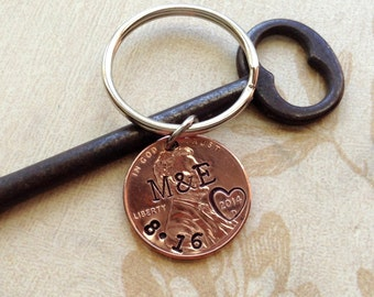 Personalized 1 Year Anniversary Keychain/ Stamped Penny/ 2017 2016 Couple Gift/ Wedding /Anniversary/  Her Gift For Him