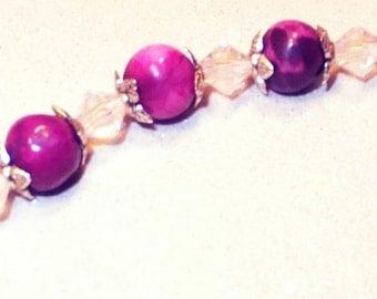 Pink stone and swarovski crystals bracelet