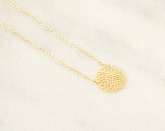 Seed Of Life Gold Necklace - Sacred Geometry - Mandala Necklace - Holistic Yoga Chakra Jewelry