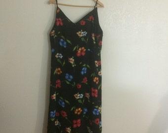 Plus Size 90s Summer Dress / Spaghetti Strap / Floral Dress / Hawaiian Dress