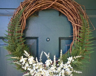 """14"""" Fern and Floral Door/Wall Wreath - """"Into the Woods"""" - Spring, Summer, Fall / Autumn"""