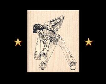 ELVIS PRESLEY Rubber Stamp, Elvis Presley, The King, Rock and Roll, Elvis, Elvis Party Favor, Elvis Stamp, Elvis Rubber Stamp Wood Mounted