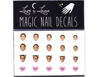 Nic Cage Nail Decals / Nicholas Cage Nail Decals / Celebrity Nail Decals /Nic Cage Nail Wraps / Nic Cage Nail Art / Nic Cage / Nicolas Cage