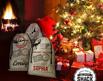 GIFT SACK Santa Sack in 3 Styles PERSONALIZED with your Child's name, North Pole Bag, Christmas Bag, Santa Canvas Bag, Glitter Decor