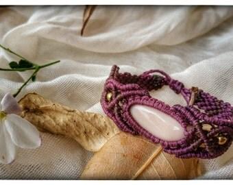 macrame bracelet, purple,  pink gemstone, boho bracelet, micro macrame, macrame handmade, macrame jewelry, knotted bracelet, brass beads
