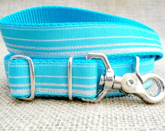 "Dog Leash: 1"" Wide, Adjustable 4'-6' feet~ Turquoise and Silver Sparkly Stripe with Metal Swivel Trigger-Snap Hook"