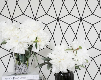 Minimalistic Geometric Regular Wallpaper / Self Adhesive Removable Wallpaper / Wall Mural /