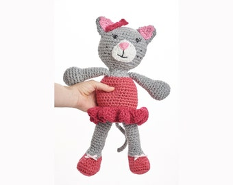 Ballerina Kitty Crochet Doll- Kitty Plush toy- 40cm (16 inches)- Choose your own colours