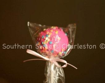 12 Pink Sprinkled Cakepops