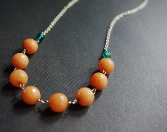 Stone Necklace,Peach Necklace,Beaded Necklace,Teal Necklace,Crystal Necklace,Bib Necklace,Teal Jewelry,Bridesmaid Jewelry Set,Gift For Her