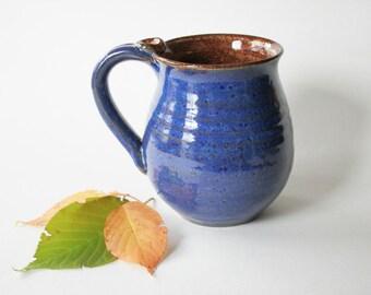 Royal Blue Coffee Cup - Indigo Blue and Cinnamon Mug - Coffee Cup, 14 oz, Ready to Ship, Handmade studio pottery
