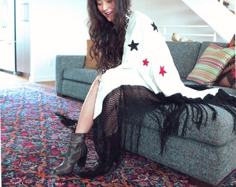 Made to Order - Reversible Piano Shawl with Crochet Star Patches- Leopard Americana