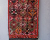 Turkish Rare Soumak Kilim, Vintage Kilim Rug, Red Hand Woven Large Kilim made in Turkey 1940's - 1950's Sumak Rug