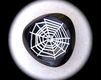 Czech Glass Buttons 27mm - 1 1/16 inch Black & White Retro Mod Whimsical Spiders Cobweb - DESTASH Purchase last 4