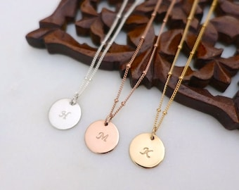 """1/2"""" Disc Initial Necklace, Rose Gold Initial Necklace, Silver Initial Necklace, Personalized Necklace, Gold Filled Disc, Satellite Chain"""