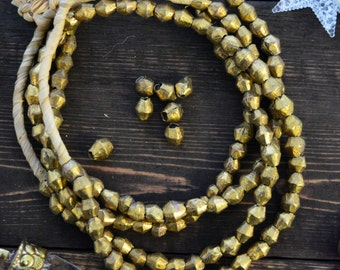 African Bicone Brass Beads, 10 beads, 8-10mm Handmade Brass Spacers, Metal Beads from Benin - Togo, Africa / Lost Wax Cast, Tribal Supplies