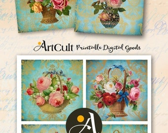 Printable digital download for coasters VINTAGE ROSES ARRANGEMENTS greeting cards scrapbooking decoupage shabby victorian paper ArtCult