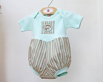 New! Koala Bear Unisex Baby Romper Green Stripe Baby Bubble Romper Gender Neutral Baby Gift Baby Boy Romper Baby Boy Clothes 3 6 9 12 18 24m
