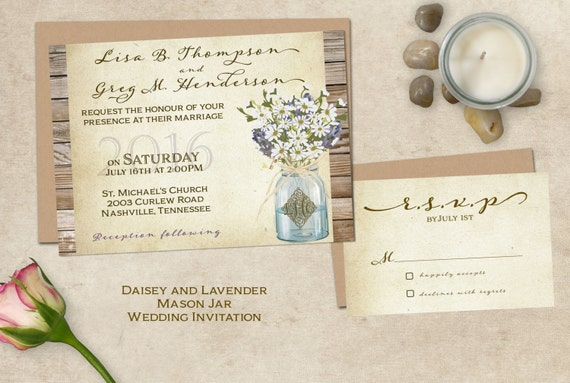 Cottage Mason Jar Wedding Invitation: Mason Jar Wedding Invitation Country By SugarSpiceInvitation