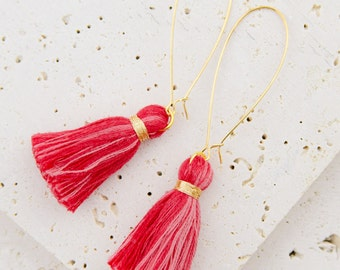 Tassel Earrings, Gold Earrings, Red Earrings, Red Tassel Earrings, Kidney Wire Earrings, Dangling Earrings, Statement Earrings