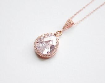 Rose Gold Pendant Necklace Wedding Necklace Pink Gold Wedding Jewelry Bridal Jewellery Cubic Zirconia Teardrop Necklace Bridesmaid Necklace