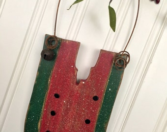 SALE Watermelon Slice Hanging Wooden Ornament