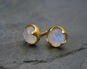 Moonstone studs, rose cut cabochon, rainbow moonstone, blue flash, faceted moonstone,  gold studs, thorn prongs, multi color studs, handmade