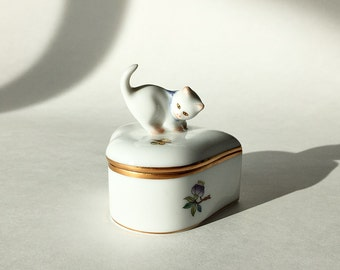 Porcelain Box Herend Heart Box Trinket Ring Box w/ Kitten Cat Womans Gift