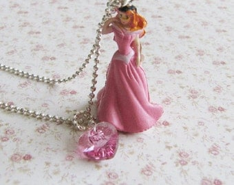 Pink princess necklace, childrens princess jewelry, childrens necklace, heart necklace