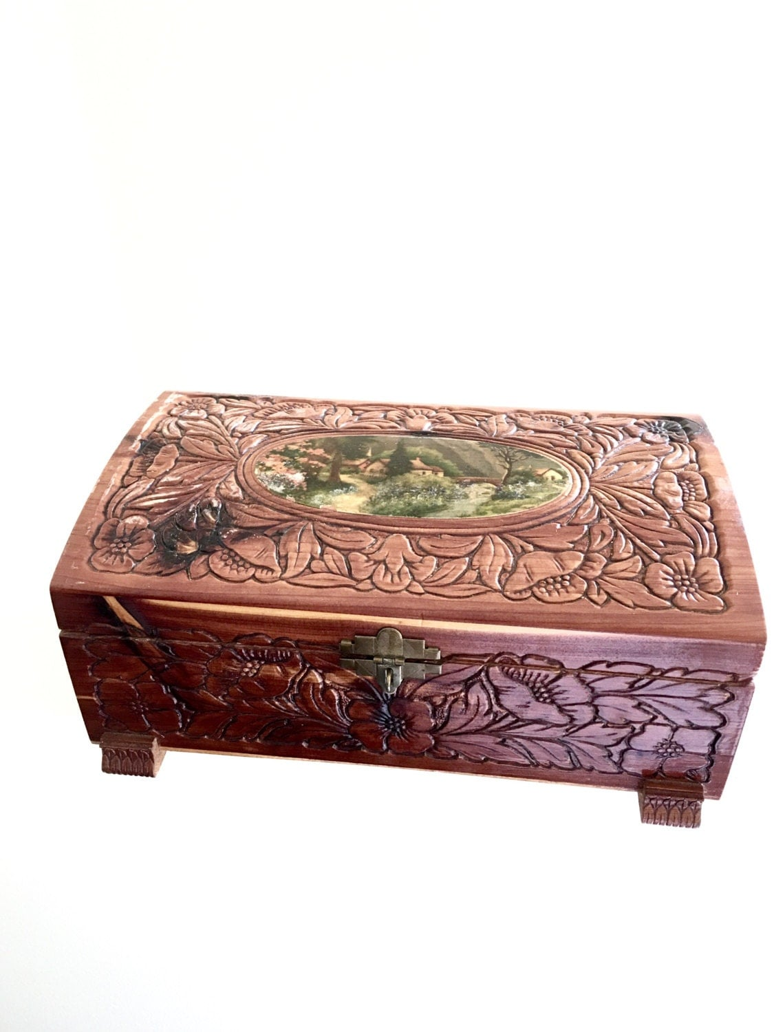 antique carved wood jewelry box small cedar chest vintage. Black Bedroom Furniture Sets. Home Design Ideas