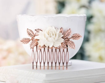 Rose Gold Hair Comb, Bridal Hair Comb, Rose Gold Wedding Hair Accessory, Leaf Branch Cream White Rose Flower Comb, Vintage Wedding