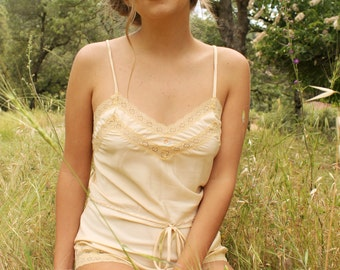 EDITH 1970's Step In Teddy Peach Cream Lace Floral Embroidery Flapper Lingerie Negligee