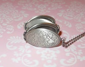 "Locket Pendant Necklace - 4 Folding Compartments - 'TREASURED MOMENTS' - Antique Silver -  2 Lengths 20"" 0r 30"""