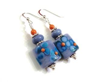 Blue Floral Lampwork Earrings With Coral Swarovski Pearls, Blue Earrings, Coral Earrings, Coral Pearl Earrings, Lampwork Jewelry