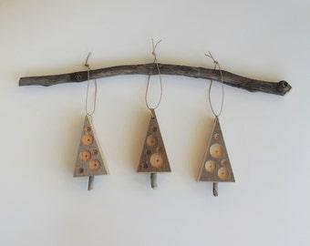 Rustic Tree Ornaments, 3 Wood Trees, Natural Christmas, Rustic Tree Shaped Ornament, Reclaimed Barn Wood Ornament, Recycled Wood Ornament