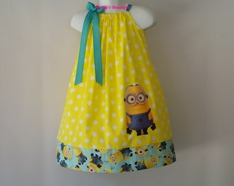 Minion Pillowcase Dress / Yellow & Aqua / Disney Inspired / Stewart/ Despicable Me/ Newborn / Infant / Baby / Girl/ Toddler/ Custom Boutique