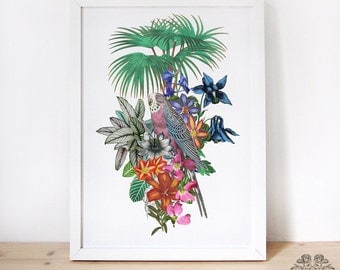 Tropical art - parrot and flowers - digital print