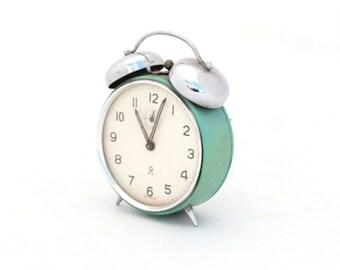 Vintage alarm clock Turquoise, Mechanical alarm clock 1970s